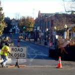 Norwalk Democrats say this photo of North Main Street road work was taken on Election Day. The road closure kept people from getting to the polling places in heavily Democratic South Norwalk, they say. (Contributed photo.)