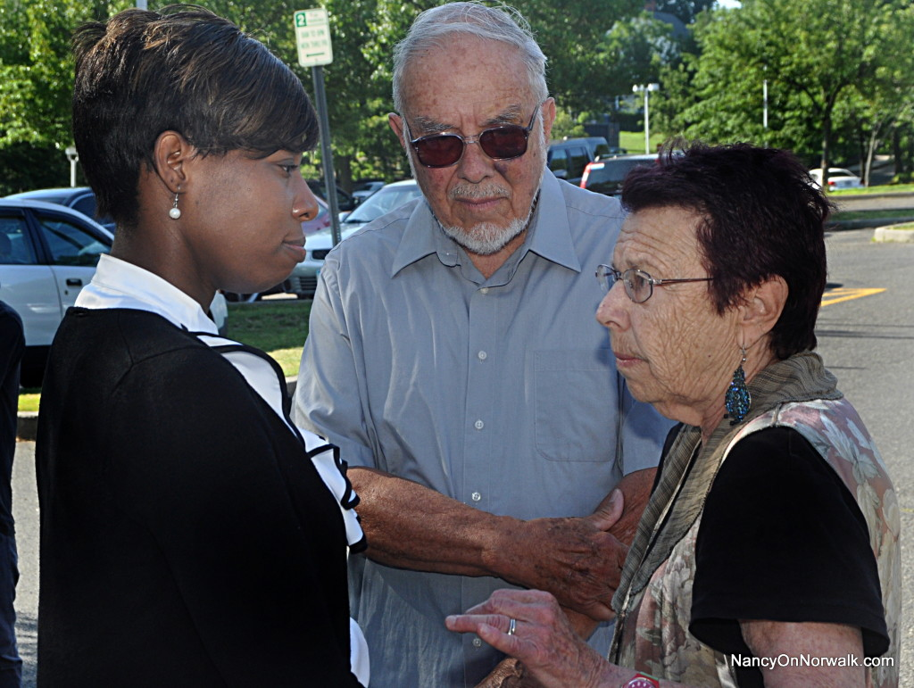 From left, Norwalk Democratic Town Committee Chairwoman Amanda Brown, District E Chairman Bill Krummel and Regina Krummel chat on July 7 at City Hall before announcing that they have worked out their differences and are ready to move on.