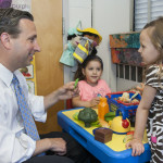 State Sen. Bob Duff visits with children Tuesday at Fox Run Elementary School.