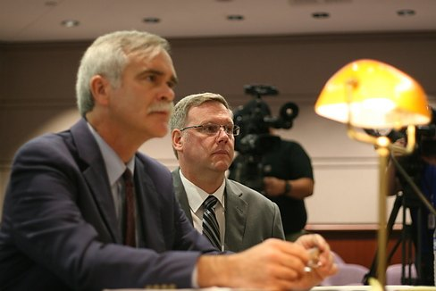 Kenneth Ireland (right) with attorney William Bloss. (Hugh McQuaid Photo)