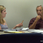 Zoning Commissioner Nora King, left, and Zoning Commission Chairman Joe Santo debate an issue last week.