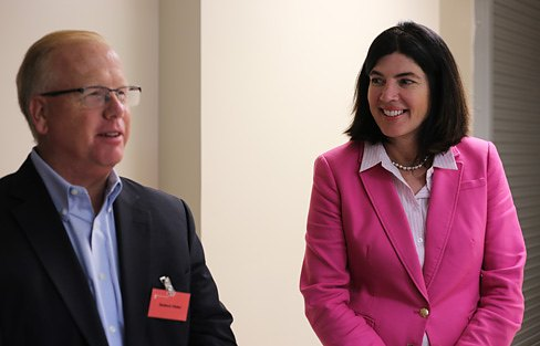 Danbury Mayor Mark Boughton and Penny Bacchiochi at MannKind Corporation. (Christine Stuart photo)