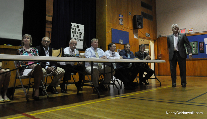 Mayor Harry Rilling, right, leads his latest Mayor's Night Out on Monday night at Cranbury Elementary School.