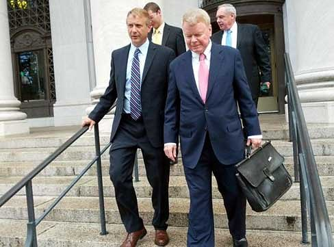 Brian Bedard, at left, walks out of court with his attorney, Hugh Keefe, in New Haven (Hugh McQuaid photo)