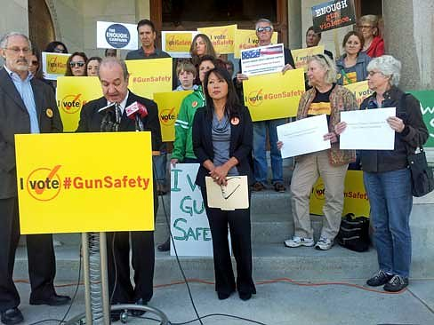Ron Pinciaro, chairman of CT Voters for Gun Safety, announces the endorsements Thursday. (Ellen Delisio photo)