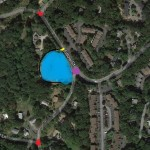 Blue area is the mosque location at 127 Fillow St. (mosque would cover 24 percent of property). Yellow line is approximate location of proposed entrance-exit from mosque. Purple dot is the Fillow-North Taylor intersection. Red dot at top is Fillow-Steppingstone accident site; red dot at bottom is North Taylor-Chipping Land accident site.