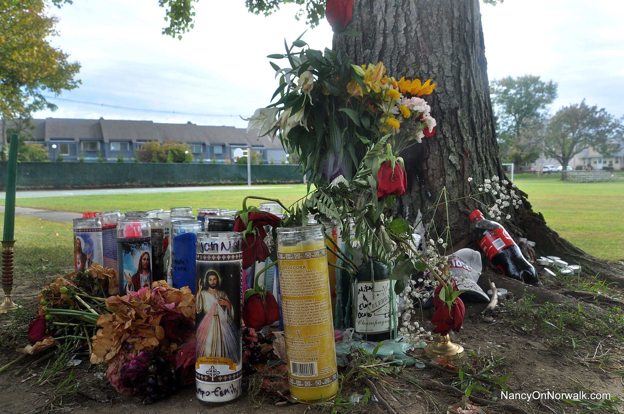 A memorial marks the area where 27-year-old Norwalker John Soyland was killed in a single-car crash Oct. 4.