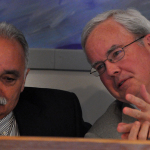 Norwalk Superintendent Manny Rivera, left. Board of Education Chairman Mike Lyons, right.