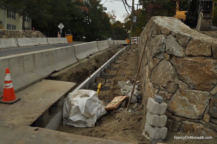 A trench on the eastern side of the Rowayton Avenue at the railroad station.