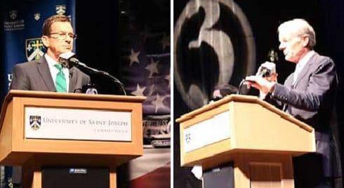 Gov. Dannel P. Malloy (left) and Tom Foley debate Tuesday night. (Christine Stuart photos)