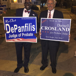 """Darnell Crosland, left, and Tony DePanfilis have """"fun"""" on Election Day"""