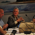 Mayor Harry Rilling attends a Norwalk Board of Education meeting in September.