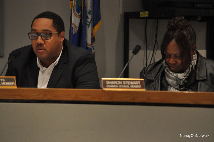 Councilman David Watts (D-District A), left, nominates Councilwoman Sharon Stewart (D-At Large) to be Council president Tuesday in City Hall.