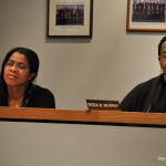 Norwalk Board of Education members Shirley Mosby, left, and Rosa Murray listen to speakers at Tuesday's meeting in City Hall.