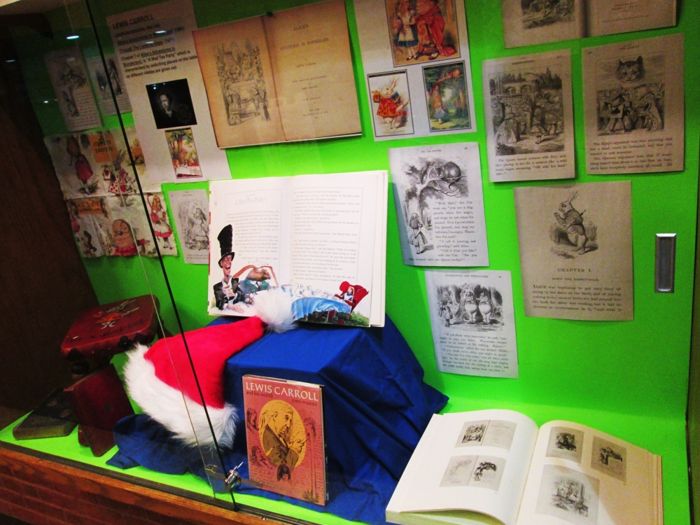 Signed Salvador Dali drawings are part of the exhibit at the library.