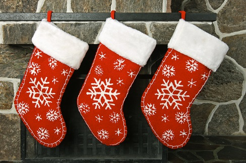 Christmas stockings on a fireplace mantel