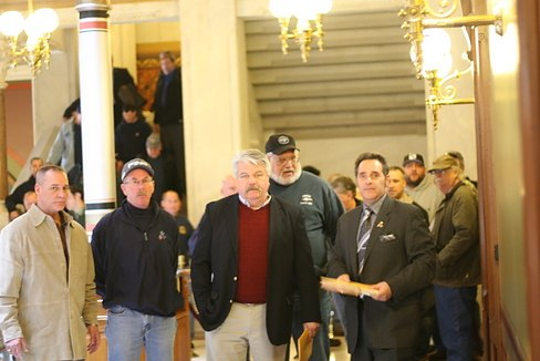 IBEW leaders and members outside Gov. Dannel P. Malloy's office (Hugh McQuaid photo)
