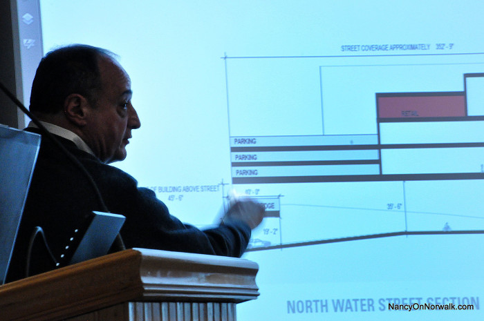 Former Norwalk state Rep. Larry Cafero talks about North Water Street in relation to the proposed mall at Saturday's meeting in City Hall.