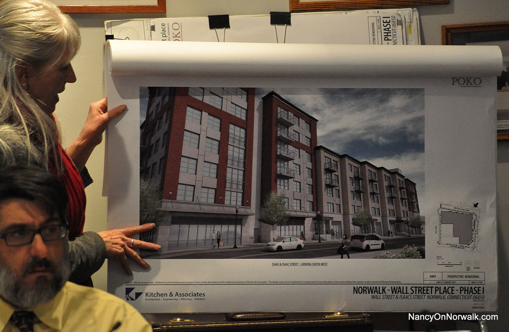 Norwalk Senior Planner Dori Wilson shows a new rendering of POKO Partners' Wall Street Place at Wednesday's Zoning Commission meeting.