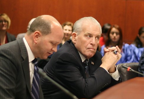 UConn Board of Trustees Chairman Lawrence McHugh, right (Hugh McQuaid photo)