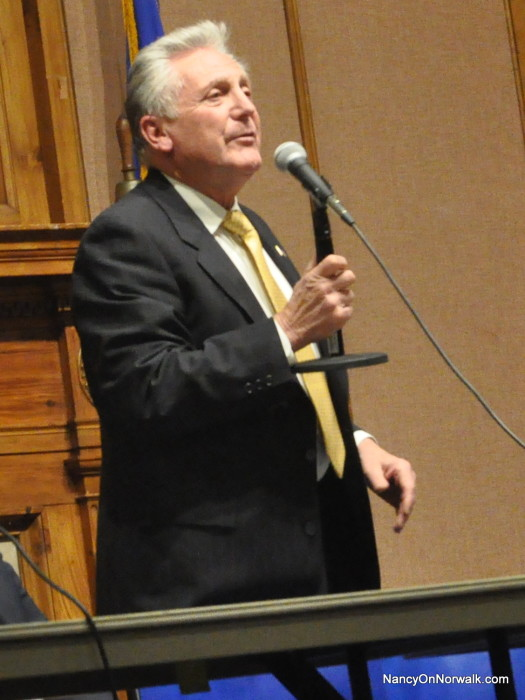Norwalk Mayor Harry Rilling welcomes the public to his latest Mayor's Night Out on Wednesday in City Hall.