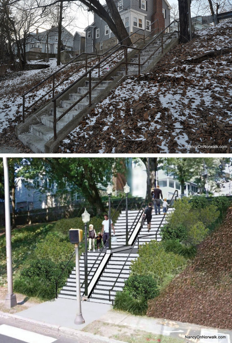 The existing staircase at Martin Luther King Drive, top; an artist's rendering of its proposed replacement, bottom.