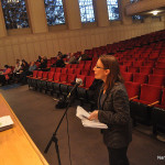 Diane Lauricalla talks to the Board of Estimate and Taxation on Wednesday in a nearly empty Concert Hall.
