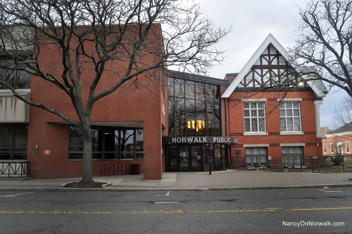 The historic Norwalk Public Library on Belden Avenue, in the First Taxing District.