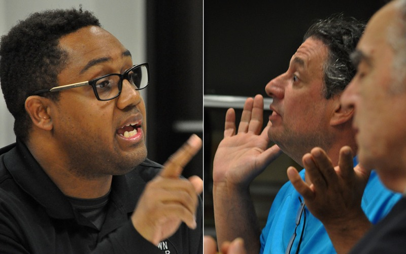 Norwalk Councilman David Watts (D-District A), left, and former Councilman Steve Serasis disagree at a May meeting in City Hall.