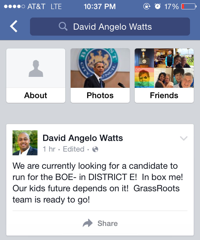 A Monday evening Facebook Post from Norwalk Common Councilman David Watts (D-District A).