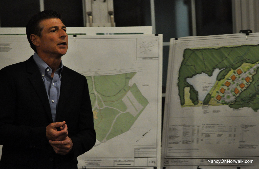 Jim Fieber of Special Properties II speaks to opponents of his planned development at a recent Conservation Commission public hearing.
