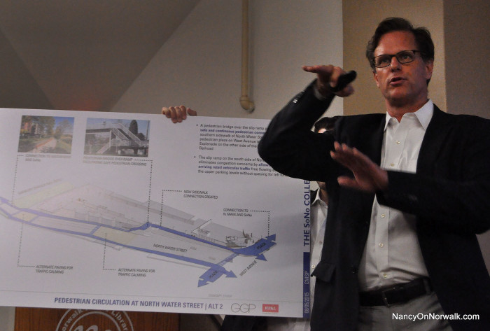 General Growth Properties Senior Developer Doug Adams talks about the mechanics of traffic flow around the proposed SoNo mall, at Wednesday's town hall in the South Norwalk library.