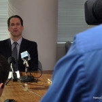 U.S. Rep. Jim Himes (D-Greenwich) begins a reporters roundtable Monday in his Stamford office.