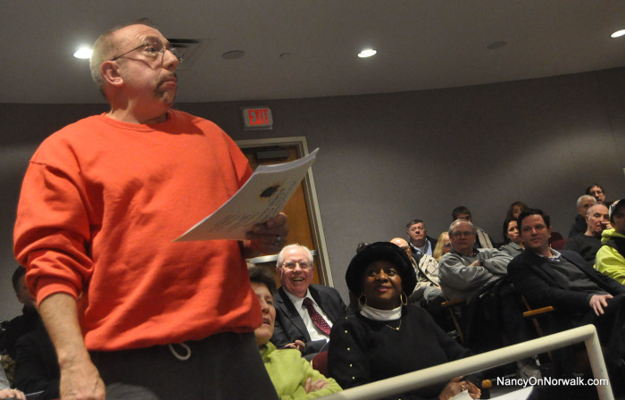 East Norwalker Anthony Rossi makes a point Thursday during a special Common Council Public Works Committee meeting in City Hall.