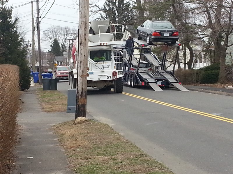 A car carrier on Osborne Avenue, according to Third Taxing District Commissioner Deb Goldstein. The car carrier's driver had gone that way to avoid I-95 traffic and then had to rearrange the vehicles to get under the power lines, she said.