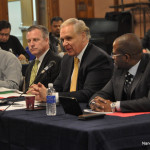 From left, Norwalk Board of Education Finance Committee Chairman Bryan Meek, Norwalk Public Schools Chief Financial Officer Thomas Hamilton, Norwalk Superintendent of Schools Steven Adamowski and NPS Chief Academic Officer Michael Conner address Common Council members Wednesday in City Hall.