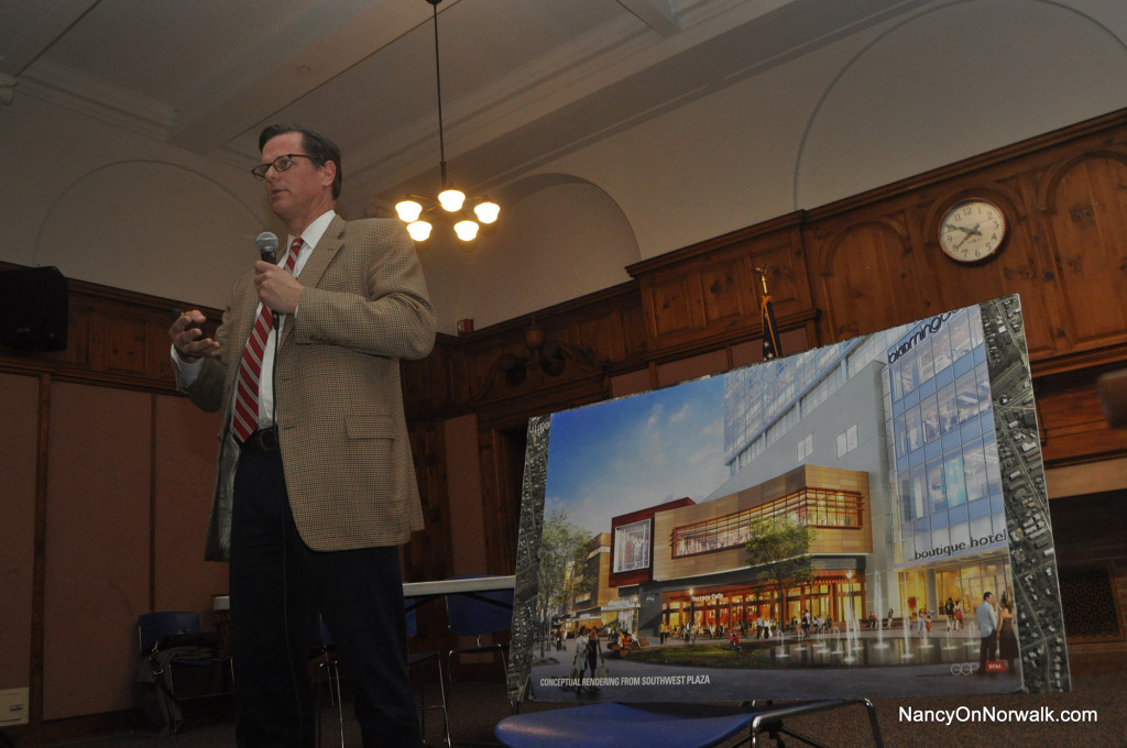 General Growth Properties Senior Developer Doug Adams tells Norwalkers attending Monday's Coalis=tions of Norwalk Neighborhood Associations about potential traffic at The SoNo Collection.
