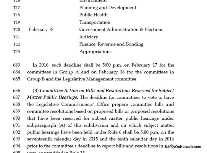 An excerpt from the Legislature's joint rules states, on page 24, the deadline for joint committees. The Education Committee is in Group A.