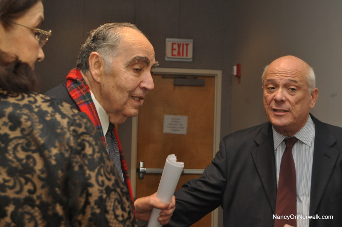 Former Mayor Frank Zullo, left, chats with Vincent Curcio before the start of the Wednesday's Norwalk Historical Commission public hearing in City Hall.