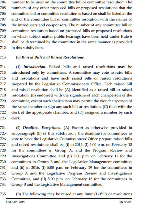 An excerpt from the Legislature's joint rules states, on page 25, the deadline for joint committees. The Education Committee is in Group A.