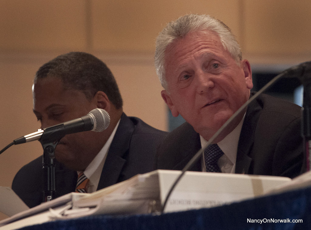 Norwalk Mayor Harry Rilling leads the recent Board of Estimate and Taxation (BET) public hearing on the 2016-17 operating budget.