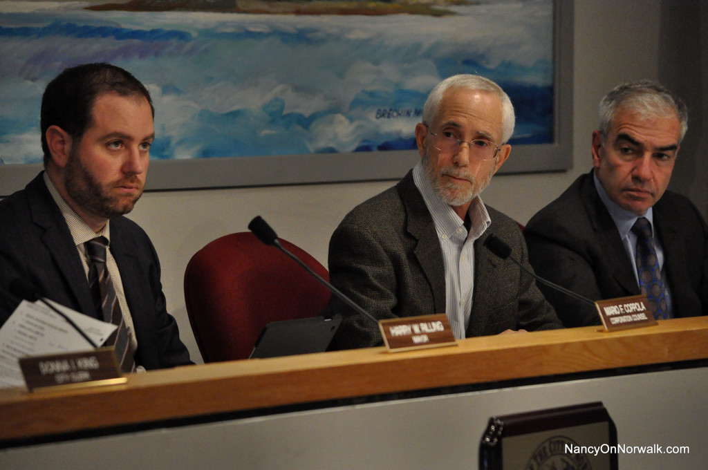 From left, Norwalk Corporation Counsel Mario Coppola, Common Council President Bruce Kimmel (D-At Large) and Councilman Michael Corsello (D-At Large), during Tuesday's Council meeting.