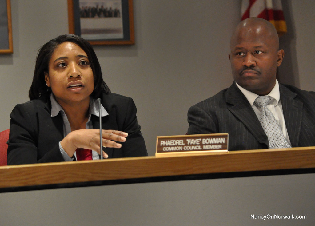 Norwalk Common Councilwoman Faye Bowman (D-District B), left, speaks her mind about a potential South Norwalk school, during Tuesday's Council meeting in City Hall. At right is Councilman Travis Simms (D-District B).