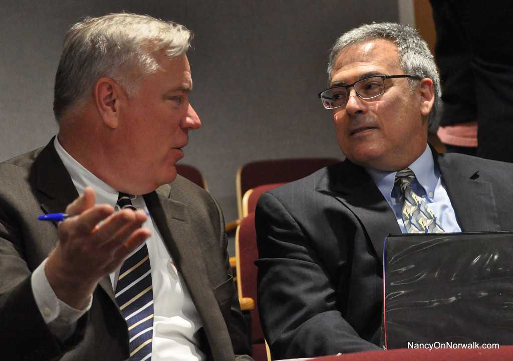 Norwalk Finance Director Bob Barron, left, chats with Joseph Messina before Tuesday's Common Council meeting, in which Messina was appointed Norwalk purchasing agent.
