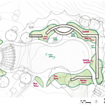 "Architect's plan of the restored formal ""Fountain Garden"" behind the existing restaurant at Oak Hills Park. The garden is planned as a low-impact events space."