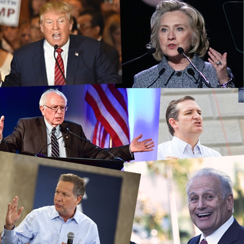 Clockwise from top left: Donald Trump, Hillary Clinton, Ted Cruz, Rocky De La Fuente, John Kasich, and Bernie Sanders (shutterstock / ctnewsjunkie)