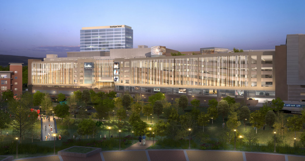 An artist's rendering of The SoNo Collection from Oyster Shell Park, at night.