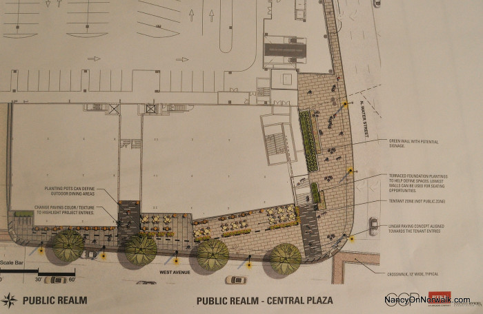 Plans drawn by General Growth Properties (GGP)  for The SoNo Collection central plaza.