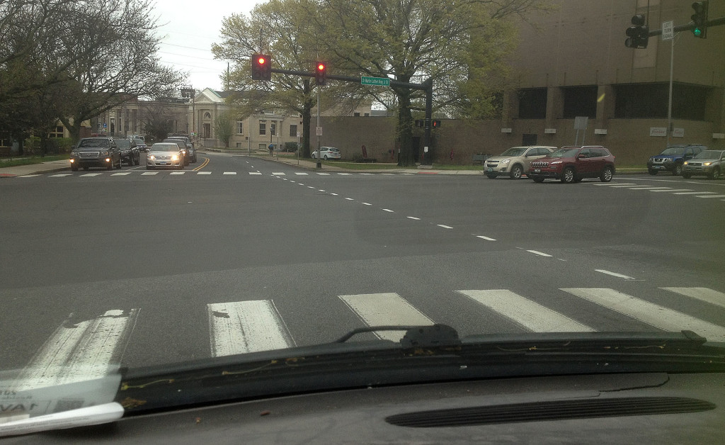 The view Friday from the driver's seat at the intersection of Washington Avenue and Martin Luther King Drive.