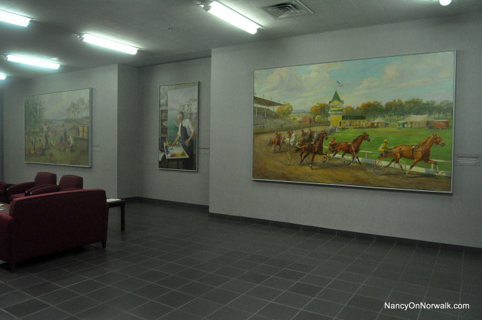 WPA murals on display in Norwalk City Hall.